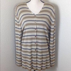 Jones New York 100% Silk Cardigan Sweater Tan L